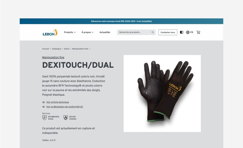 Fiche produit site WrdPress Lebon Protection